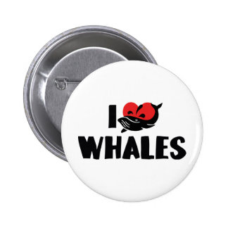 I Love Heart Whales - Whale Lover Button