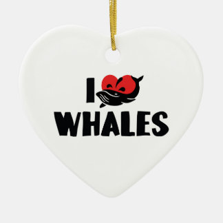 I Love Heart Whales - Whale Lover Ceramic Ornament
