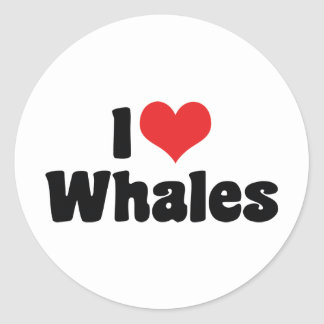 I Love Heart Whales - Whale Lover Classic Round Sticker