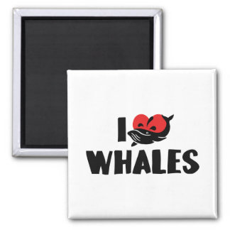 I Love Heart Whales - Whale Lover Magnet