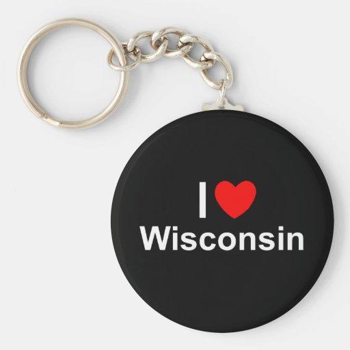 I Love (Heart) Wisconsin Basic Round Button Keychain