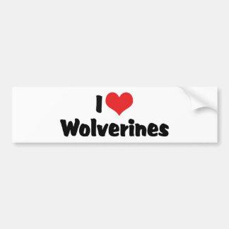 I Love Heart Wolverines Bumper Sticker