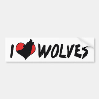 I Love Heart Wolves - Wolf Lover Bumper Sticker
