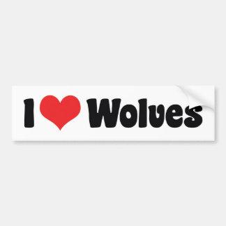 I Love Heart Wolves - Wolf Lover Bumper Sticker