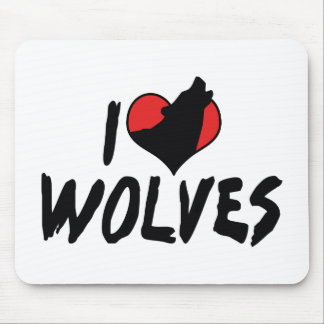 I Love Heart Wolves - Wolf Lover Mouse Pad