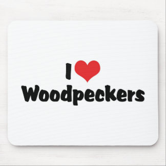 I Love Heart Woodpeckers - Bird Lover Mouse Pad