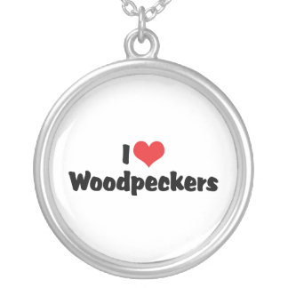 I Love Heart Woodpeckers - Bird Lover Silver Plated Necklace