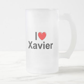 I Love (Heart) Xavier Frosted Glass Beer Mug
