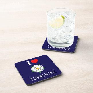 I love - heart Yorkshire cork coasters (Set of 6)