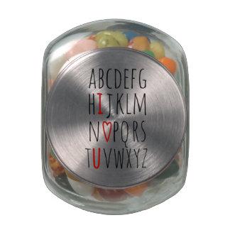 I Love (Heart) You Alphabet Jelly Belly Candy Jar