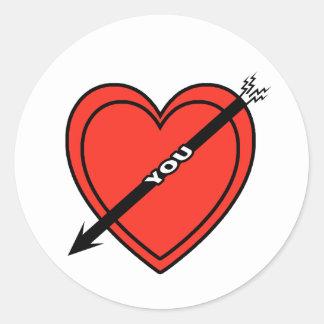 I Love Heart You Classic Round Sticker