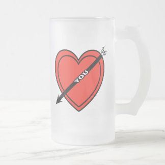 I Love Heart You Frosted Glass Beer Mug