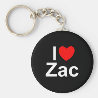 I Love (Heart) Zac Basic Round Button Keychain
