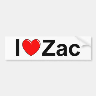 I Love (Heart) Zac Bumper Sticker