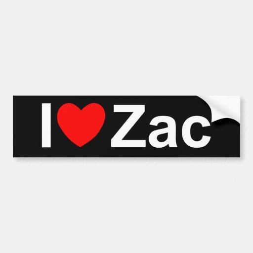 I Love (Heart) Zac Bumper Stickers