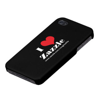 I love heart  Zazzle, custom to promote your store Case For iPhone 4