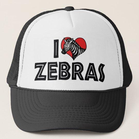 I Love Heart Zebras - Zebra Lover Trucker Hat