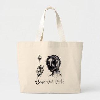 I Love (heart) Zombie Girls Large Tote Bag