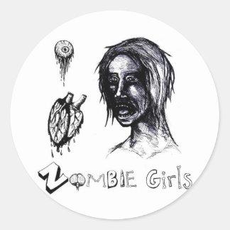 I Love (heart) Zombie Girls Classic Round Sticker