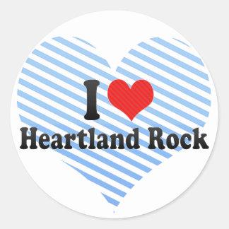 I Love Heartland Rock Round Sticker