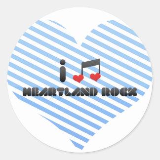 I Love Heartland Rock Round Stickers