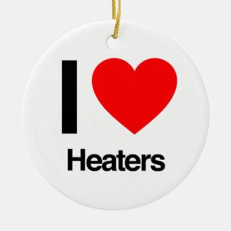 i love heaters ceramic ornament