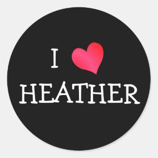 I Love Heather Round Stickers