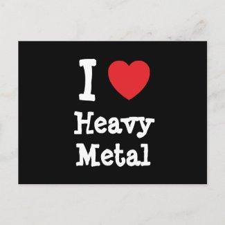 I love Heavy Metal heart custom personalized Postcards