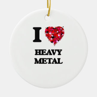 I Love Heavy Metal Double-Sided Ceramic Round Christmas Ornament