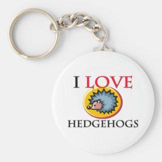 I Love Hedgehogs Basic Round Button Keychain