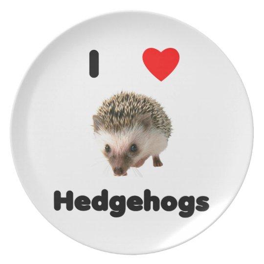 I love hedgehogs dinner plate