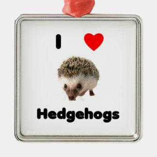 I love hedgehogs metal ornament