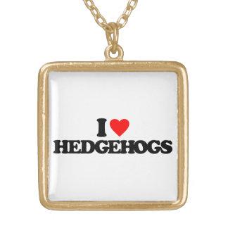 I LOVE HEDGEHOGS SQUARE PENDANT NECKLACE
