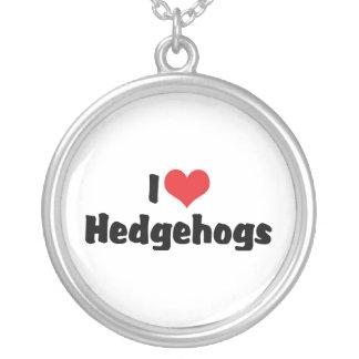 I Love Hedgehogs Round Pendant Necklace