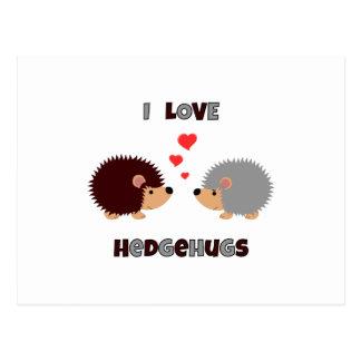 I love hedgehugs hedgehog postcard