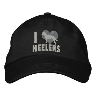 I Love Heelers Embroidered Hat (Gray)