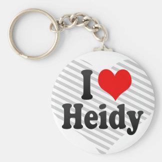 I love Heidy Basic Round Button Keychain