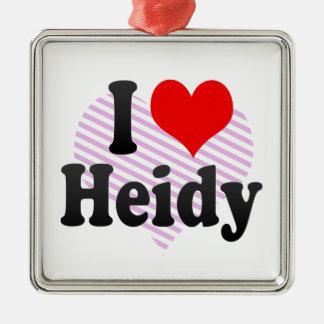 I love Heidy Square Metal Christmas Ornament