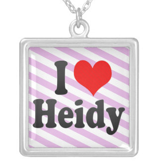 I love Heidy Square Pendant Necklace