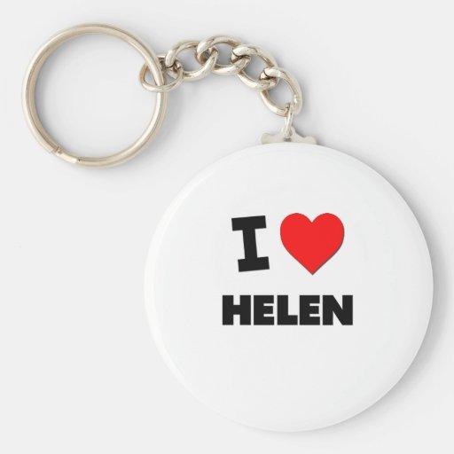 I Love Helen Basic Round Button Keychain