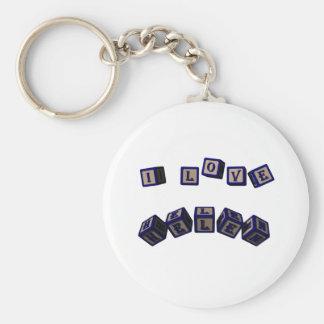 I love Helen toy blocks in blue Basic Round Button Keychain