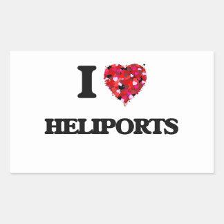 I Love Heliports Rectangular Sticker
