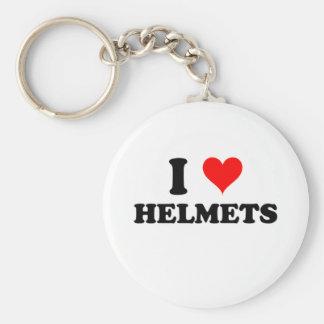 I Love Helmets Basic Round Button Keychain