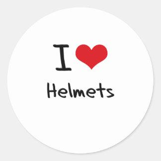 I Love Helmets Classic Round Sticker