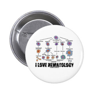 I Love Hematology (Blood Cell Lineage) Button
