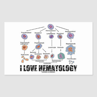 I Love Hematology (Blood Cell Lineage) Rectangular Sticker