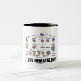 I Love Hematology (Blood Cell Lineage) Two-Tone Coffee Mug