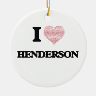 I Love Henderson Double-Sided Ceramic Round Christmas Ornament