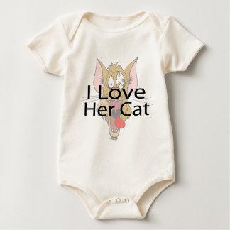 I Love Her Cat black Baby Bodysuit