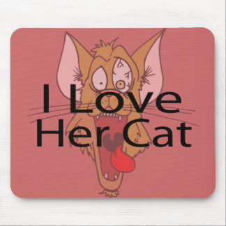 I Love Her Cat black Mouse Pad